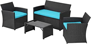 4 Pieces Outdoor Patio Furniture Set Black Wicker Rattan Cousioned Sectional Conversation Sofa with Coffee Tea Table for Backyard Porch Garden Poolside Balcony Blue