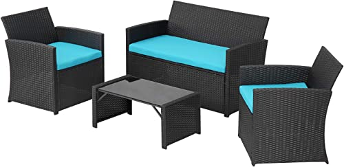 4 Pieces Outdoor Patio Furniture Set Black Wicker Rattan Cousioned Sectional Conversation Sofa
