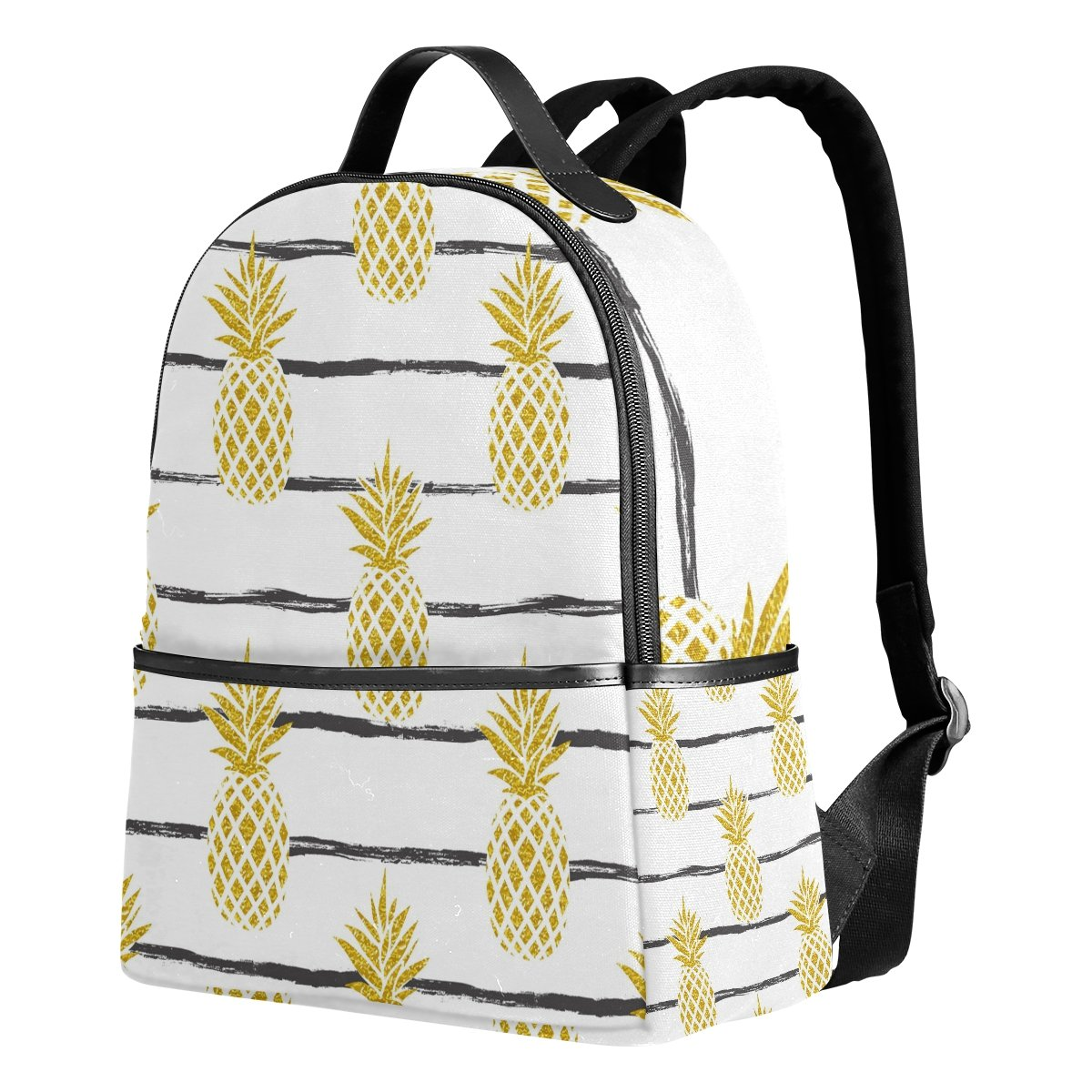 Use4 Summer Gold Pineapple on Striped Polyester Backpack School Travel Bag