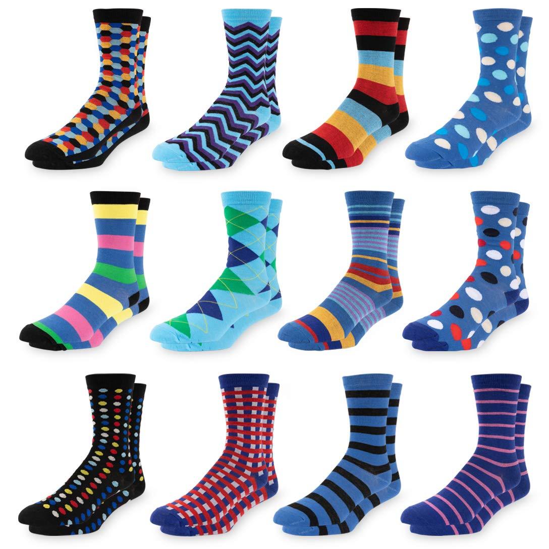 Mens Colorful Dress Socks 12 Pack Fun Patterned Funky Crew Socks For Men