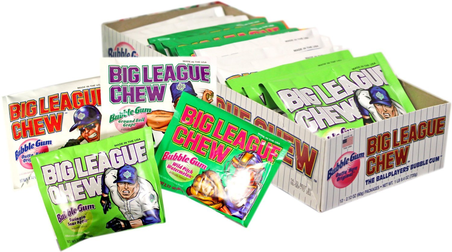 Big League Chew, Assorted -, 2.1-Ounce Pouch, 12-Count
