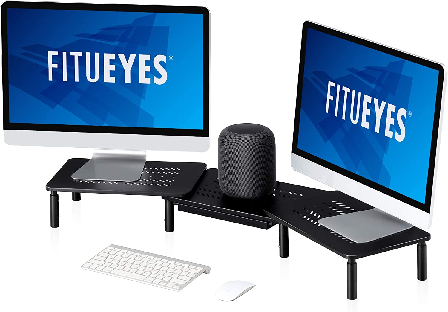 FITUEYES Dual Monitor Stand Riser, Adjustable Length and Angle 3 Shelf Screen Stand, Desktop Storage Organizer Riser for PC, Computer, Laptop, with Mesh Platform for Airflow DT115903MB