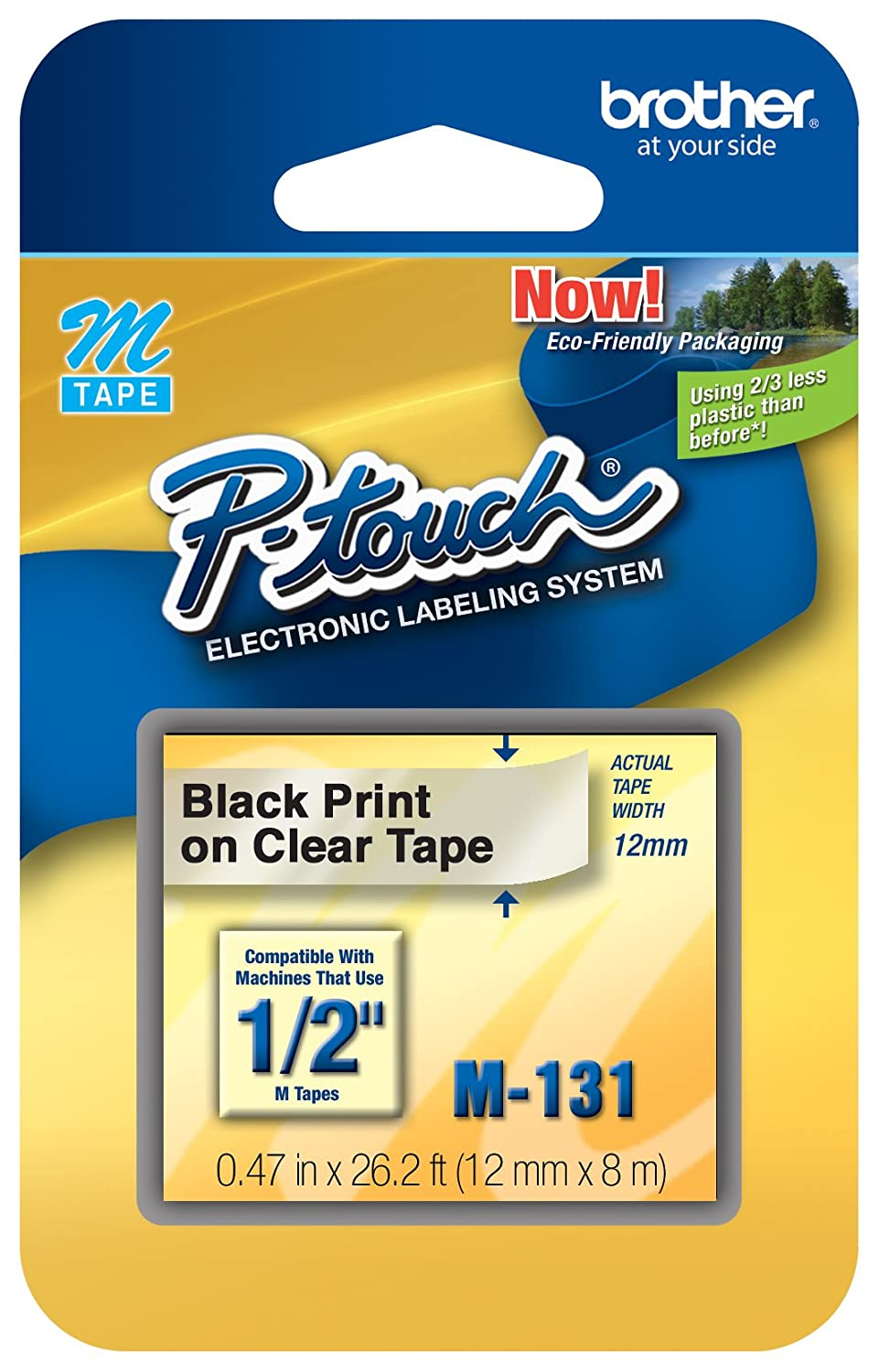 Brother M231 1/2-Inch Black on White Tape for P-Touch Labeler - Retail Packaging BROR9