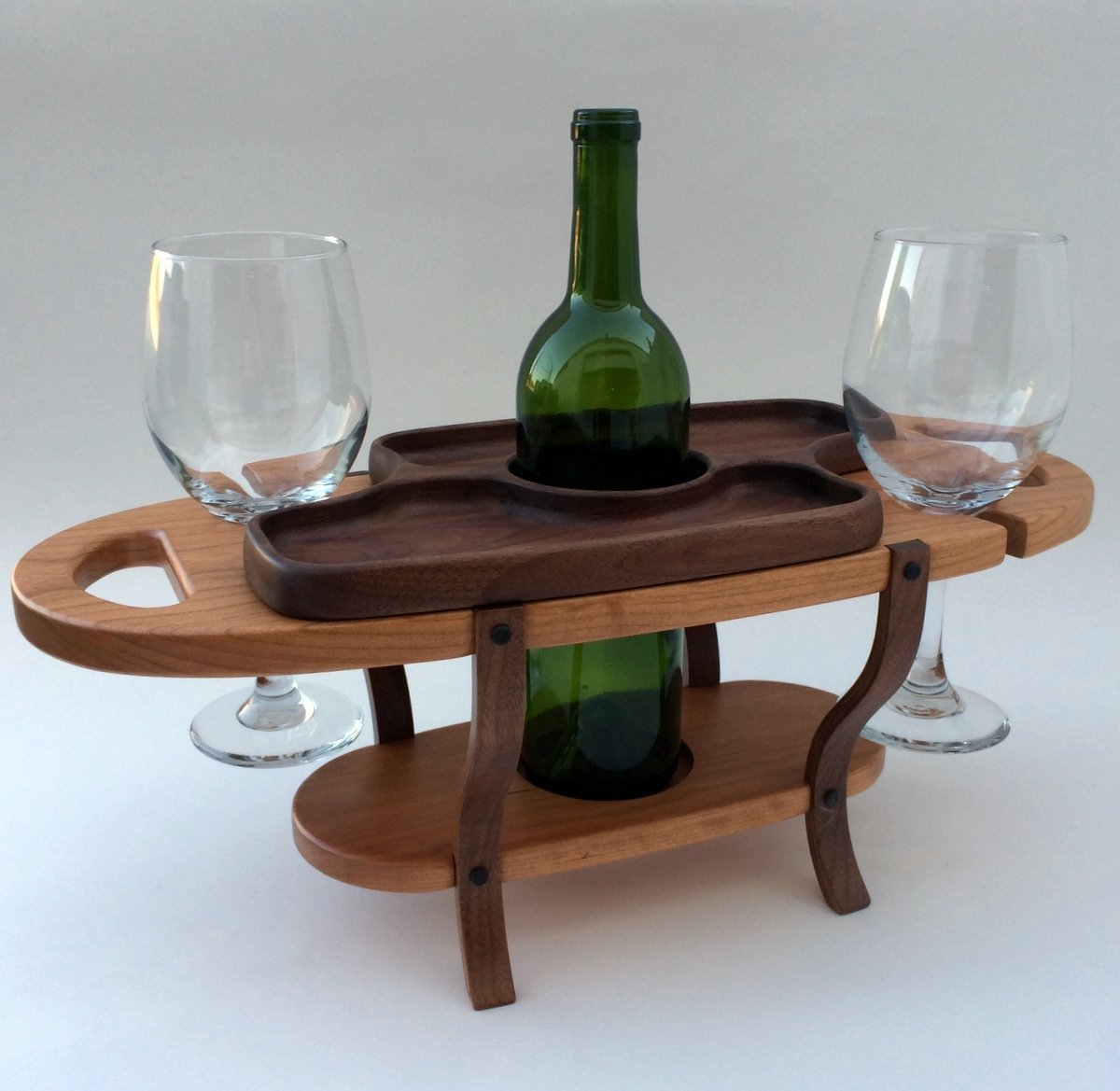 Handmade wood wine caddy, tabletop wine bottle rack, wine glass holder