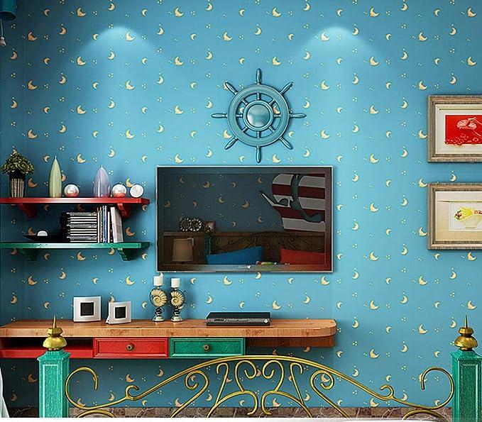 jasmine XDL store Mediterráneo 3D no Tejido de Dibujos Animados Sala de niños Papel Tapiz niño niña Dormitorio Ropa Infantil Tienda Estrellas Luna 0.53m * 10m: Amazon.es: Hogar