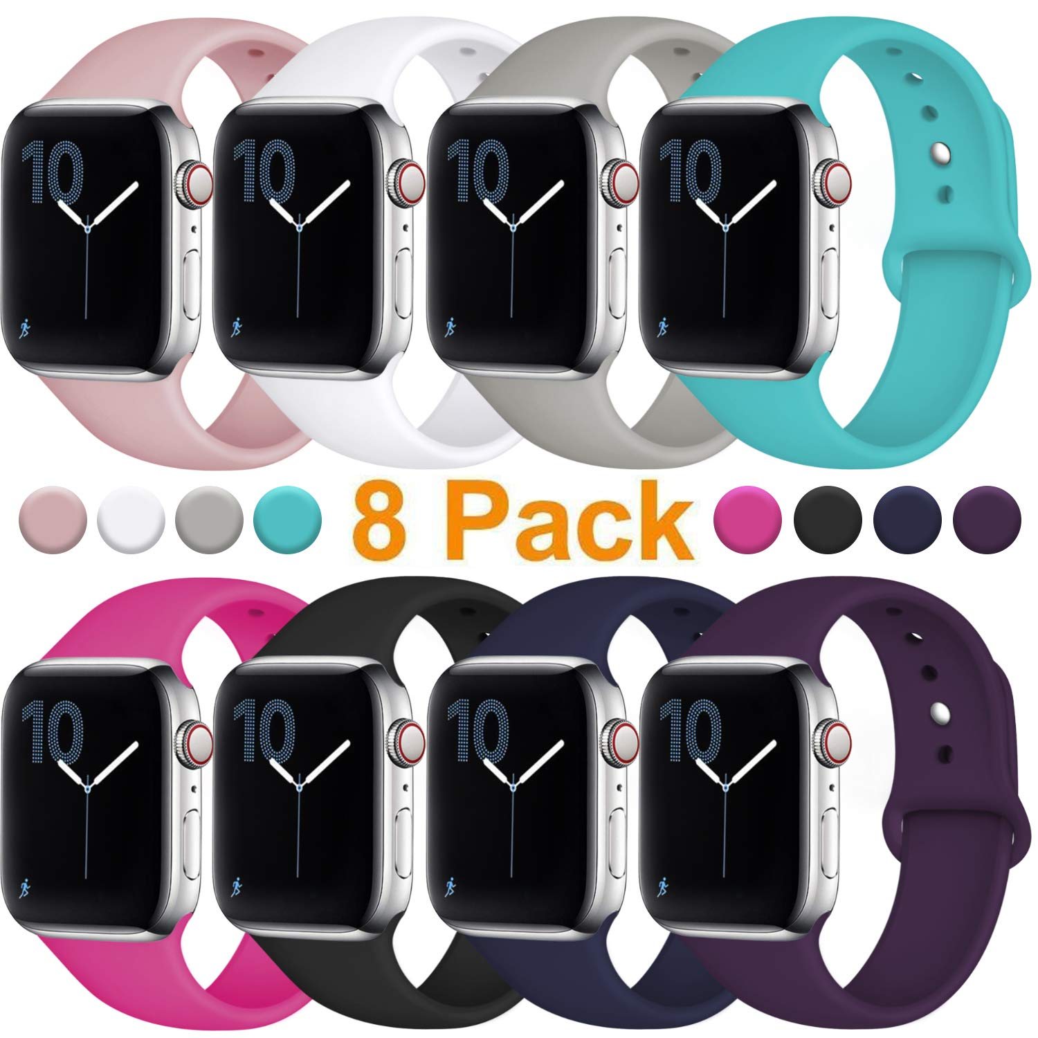 Fuleda Compatible with Apple Watch Band 40mm 38mm, Replacement Sport Bands for iWatch Series 4, Series 3, Series 2, Series 1, 8 Pack, S/M