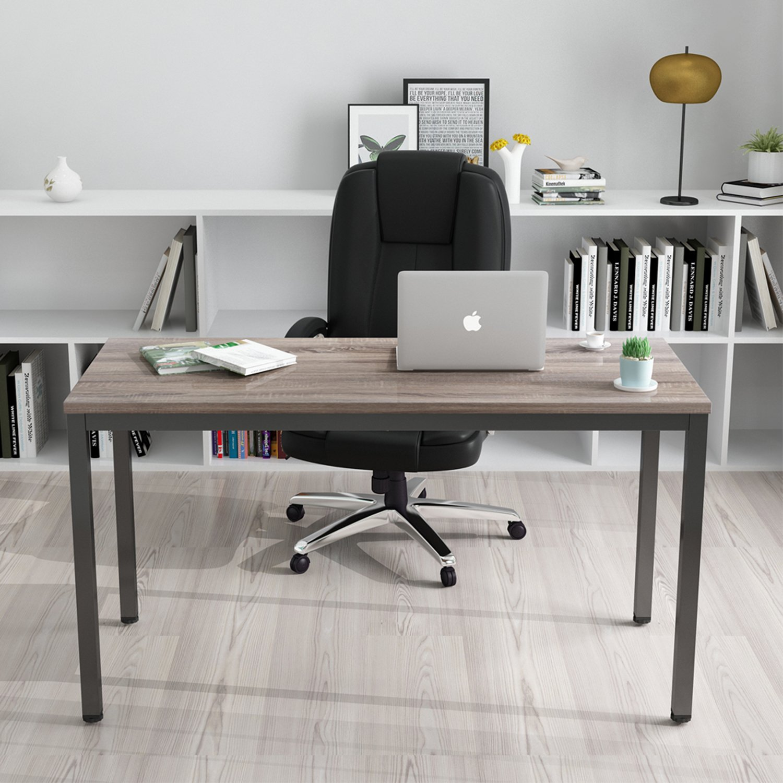 Amazon com decho computer desk 55 large office desk computer table study writing desk for home office dark oak black leg kitchen dining