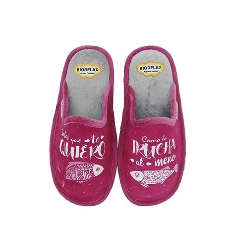 Biorelax by Zapattu - Zapatillas de Casa Mujer Sabes Que te Quiero como la Trucha al Mero: Amazon.es: Zapatos y complementos