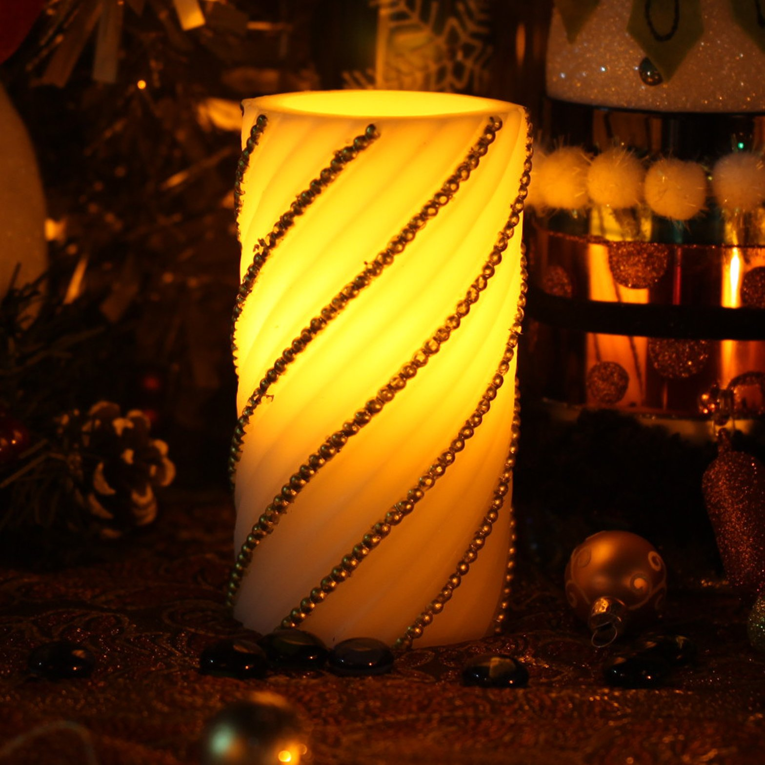 Twill Pattern Flameless Led Candle With Timer,3x6 inches