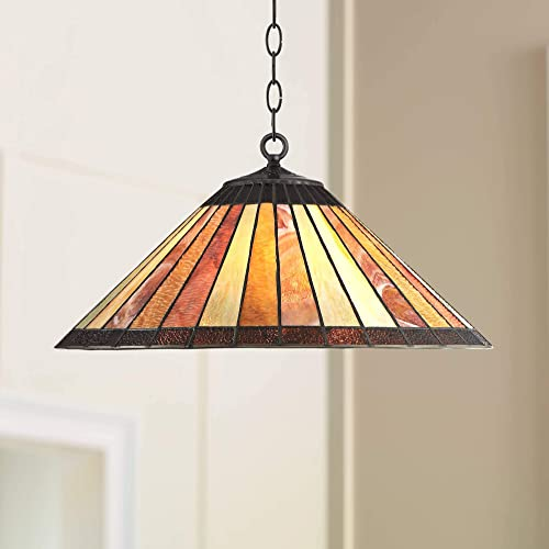 Galileo Bronze Tiffany Pendant Chandelier 20 Wide Mission Striped Amber Art Glass Fixture for Dining Room House Foyer Kitchen Island Entryway Bedroom Living Room – Robert Louis Tiffany