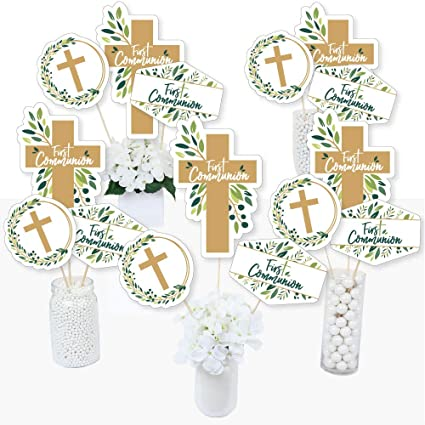 First Communion Elegant Cross Religious Party Centerpiece Sticks Table Toppers Set Of 15