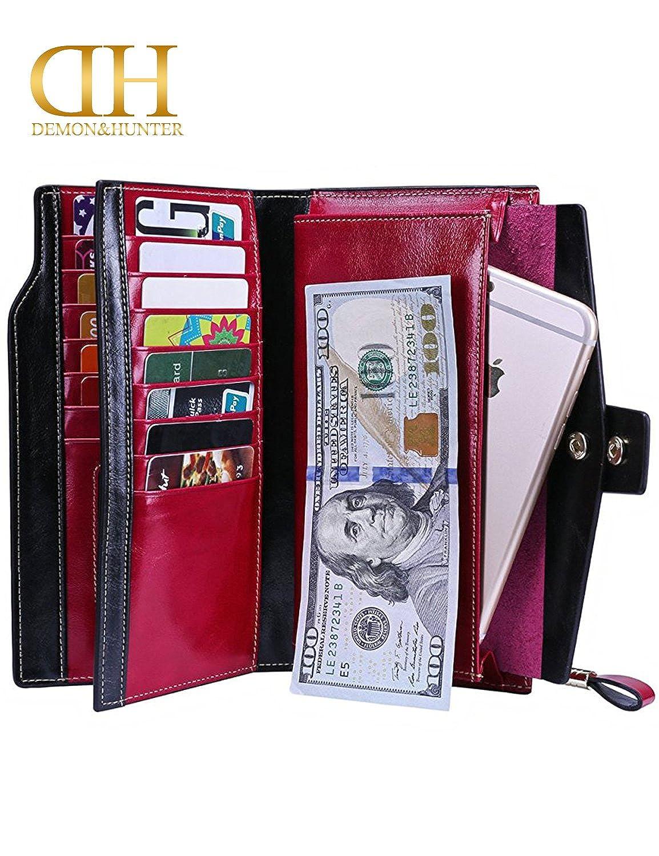 Demon/&Hunter Mujer RFID Bloqueo Gran Capacidad Lujo Cera Cuero Genuino Cartera Billetera Monedero DZA2083