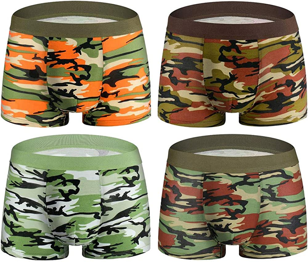 Zerototens 4 Pack Mens Underwear Cotton Boxer Briefs Camouflage Printed Shorts Pouch Soft Underpants Knickers,L-3XL