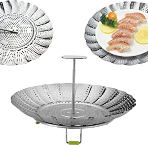 Vegetable Steamer Basket, Stainless Steel food basket, Collapsible Steamer Cookware Insert for Steaming food Cooking