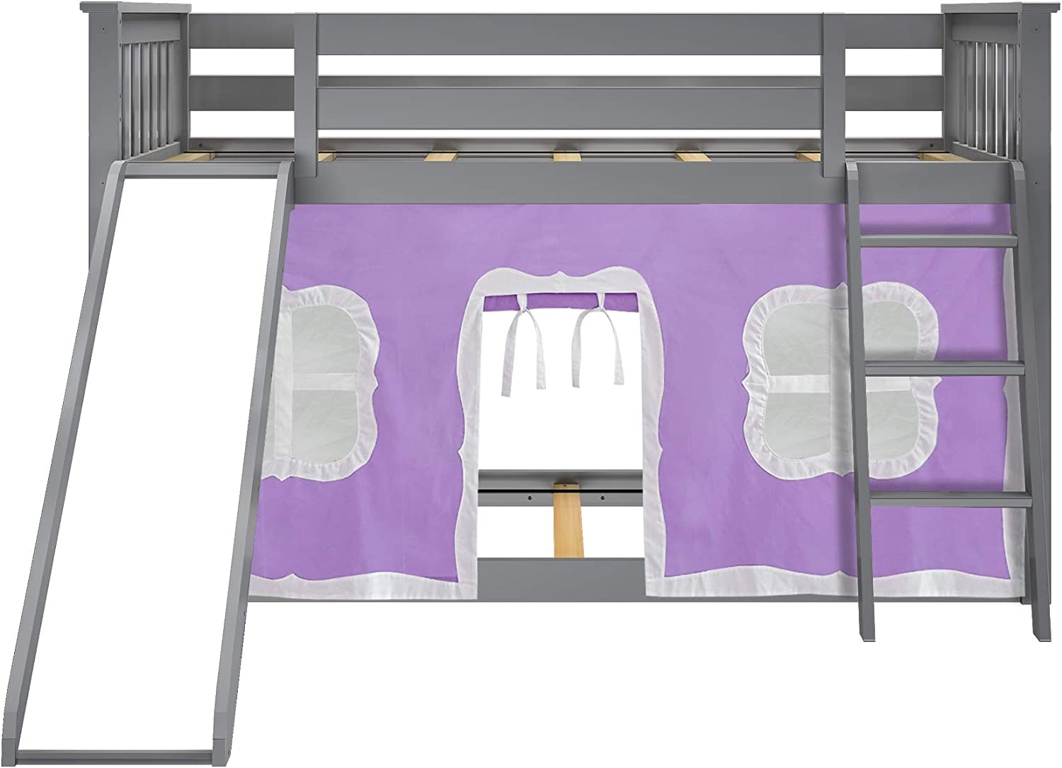 Grey Max /& Lily Twin over Twin Low Bunk with Purple Curtains