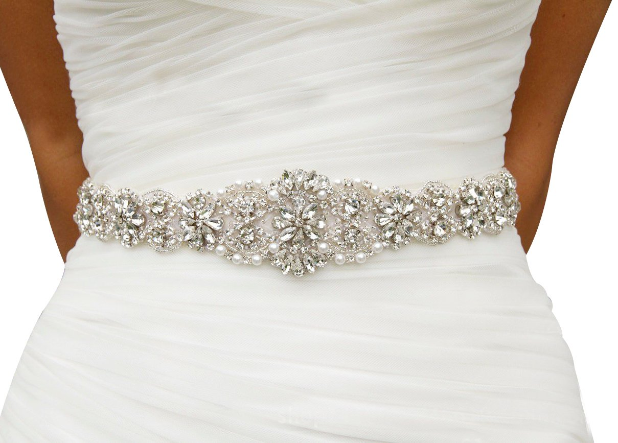 Lovful Bridal Crystal Rhinestone Braided Wedding Dress Sash Belt, Ivory