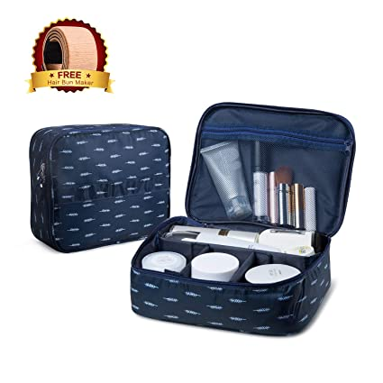 3a0261b1ea5c JECIMER Travel Makeup Bag Train Case Cosmetic Bags Adjustable Compartments