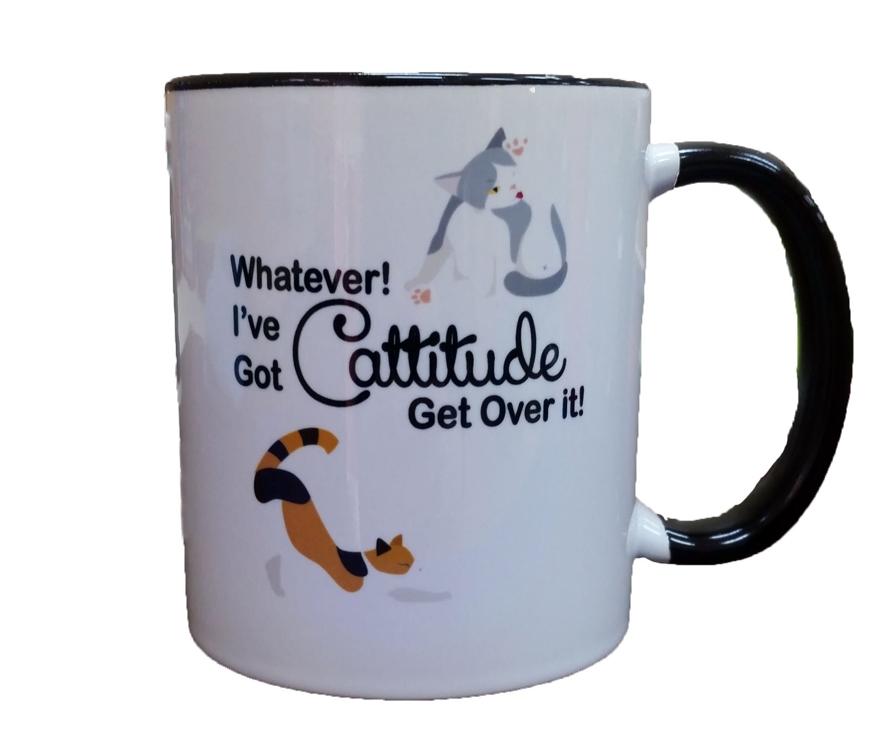 Whatever! I've Got Cattitude Get Over It! Coffee or Tea 11oz Mug - Perfect Gift for Cat and Animal Lovers by Dark Spark Decals (Image #2)