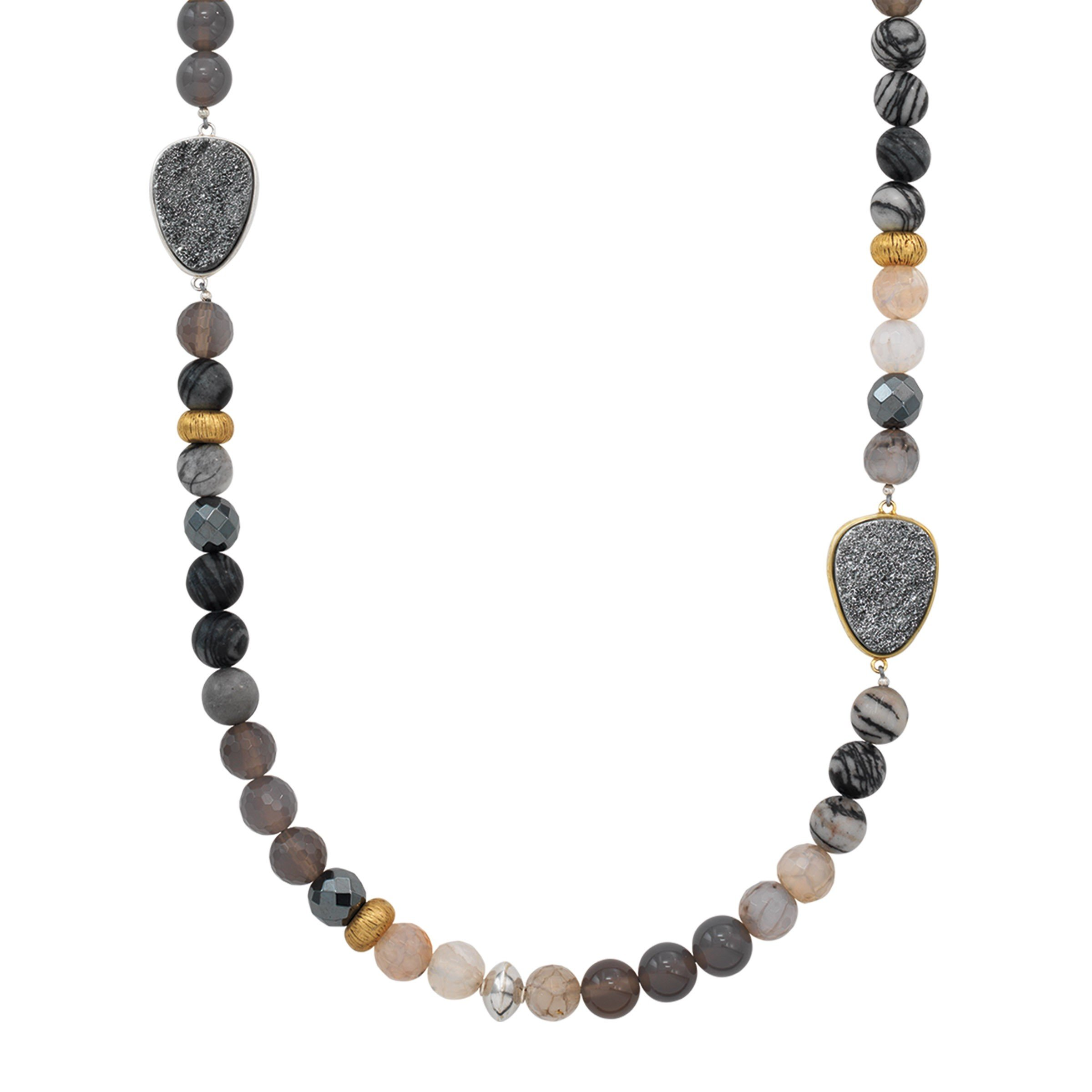 Silpada 'Ode To Geode' Natural Agate, Druzy, Hematite Necklace in Sterling Silver & Brass