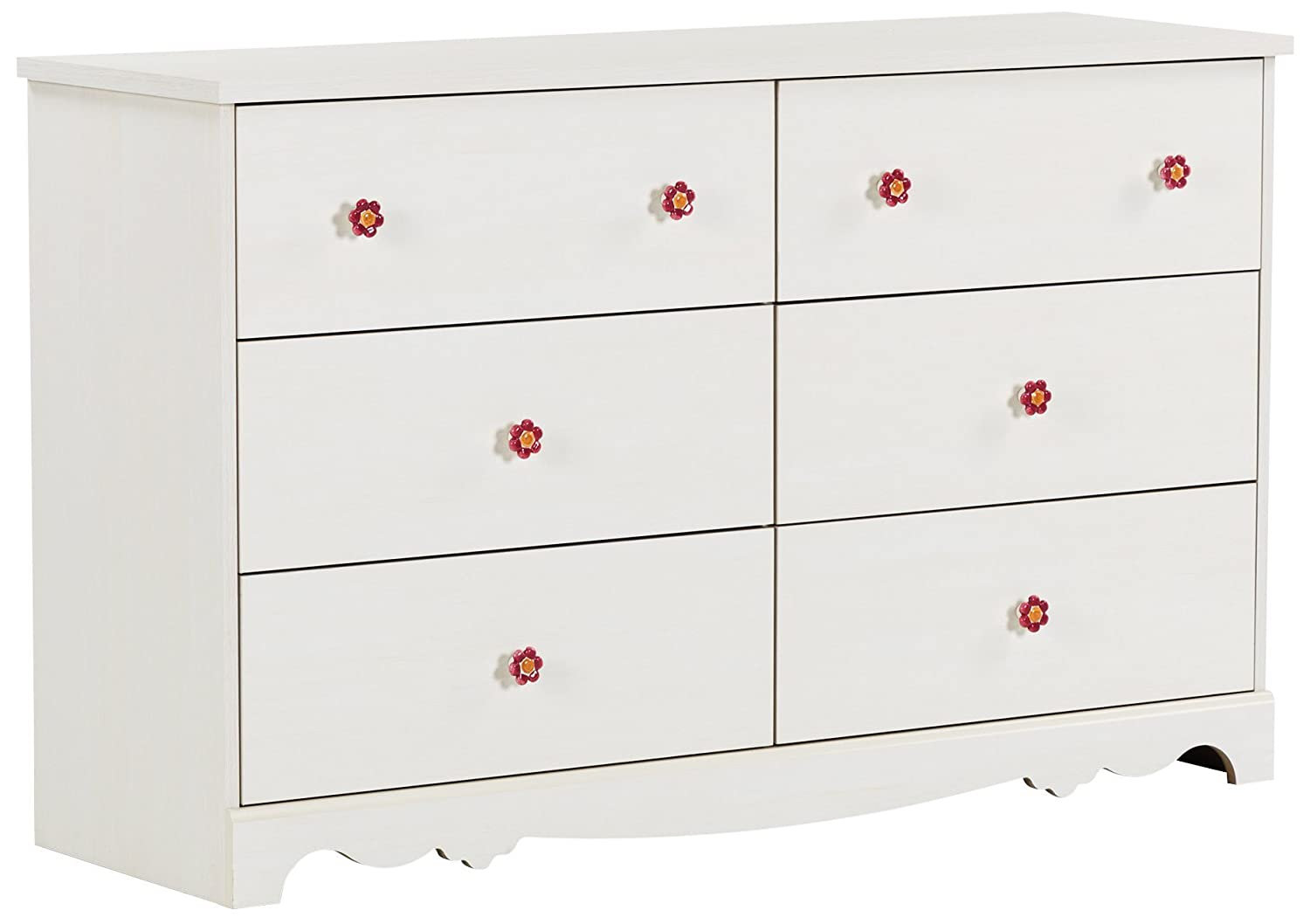 South Shore Furniture Lily Rose 6-Drawer Double Dresser, White Wash 10078