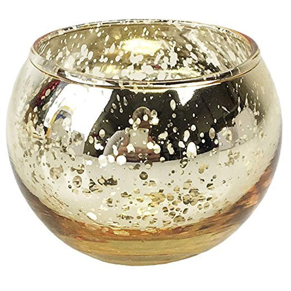 Just Artifacts Round Mercury Glass Votive Candle Holders 2-Inch Speckled Gold (Set of 25) - Mercury Glass Votive Candle Holders for Weddings and Home Décor by Just Artifacts