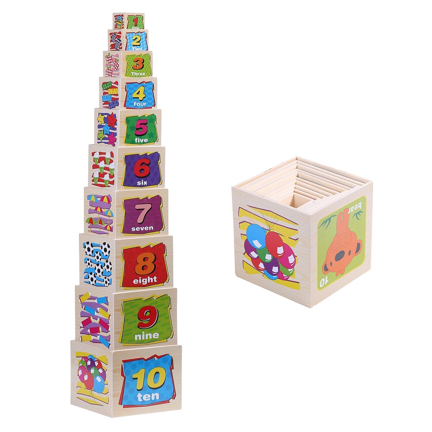 Jacootoys Wooden Nesting Blocks Animal Stacking Boxes Educational Toys For Children 10 Pieces