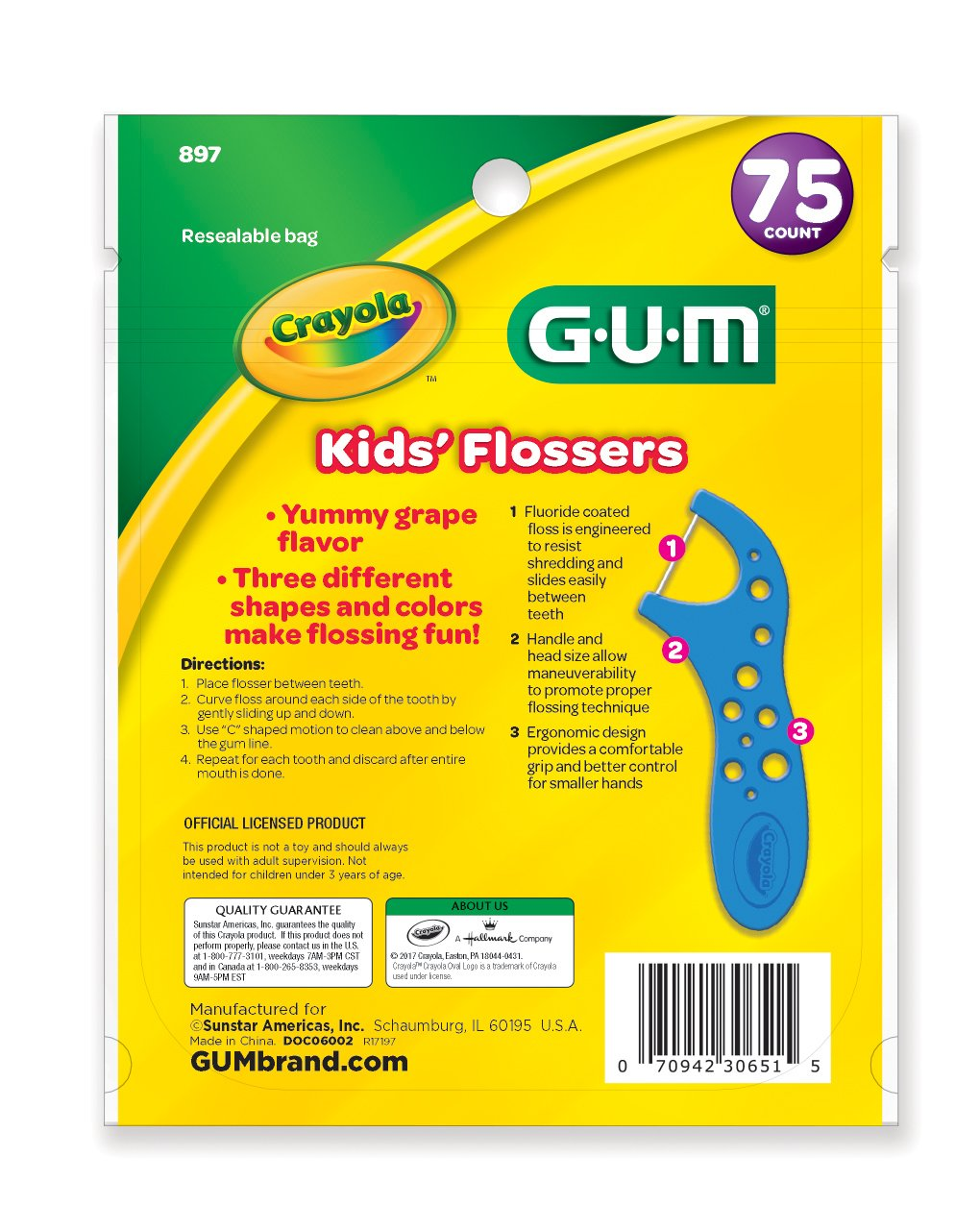 GUM Crayola Kids' Flossers (75 Flossers) Grape by GUM (Image #2)