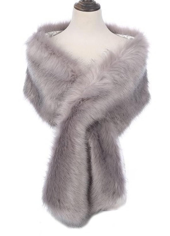 LQABW Bufanda De Piel De Imitación Bufanda Mujer Moda Ocio,Gray