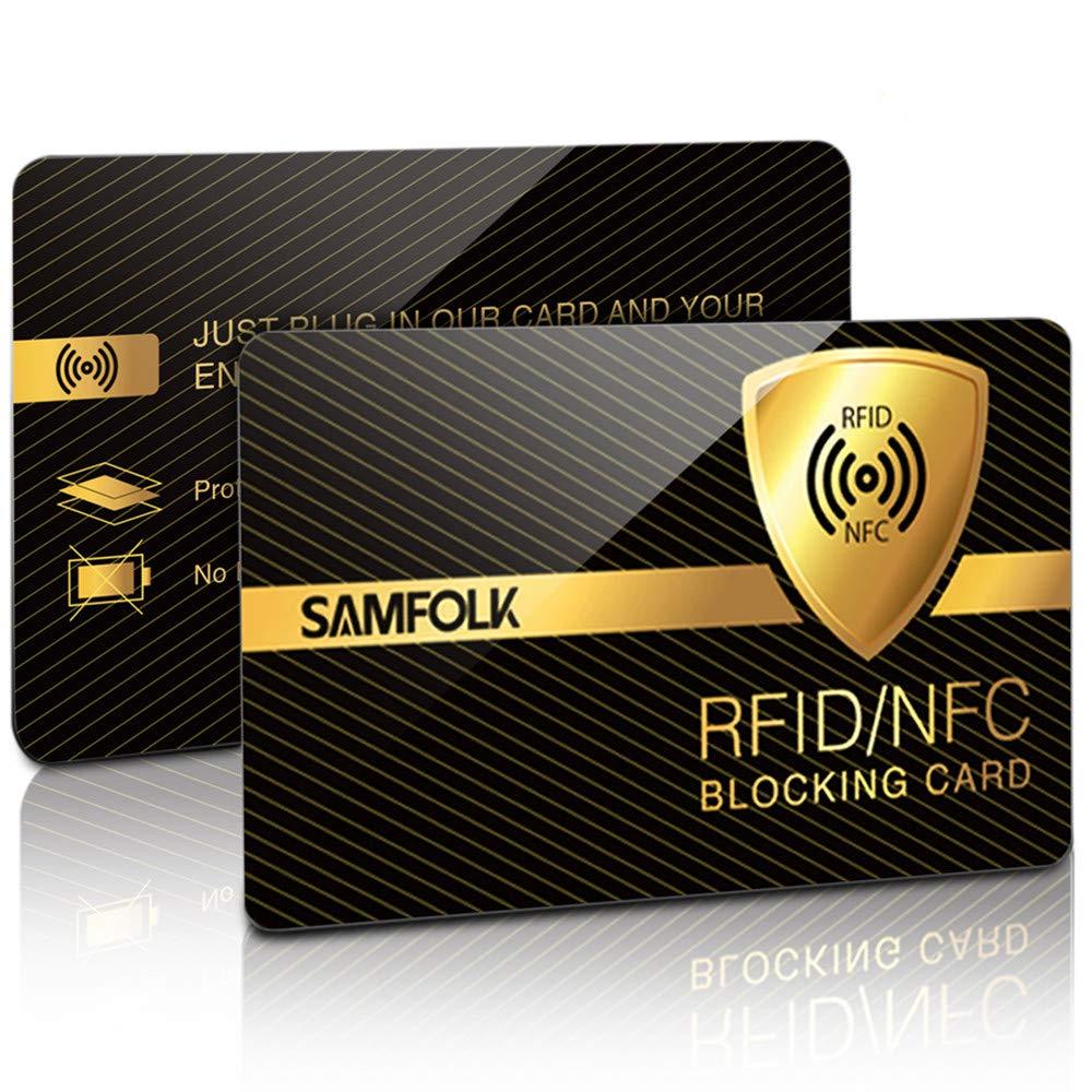 RFID Blocker Karte Tü v Geprü ft (2 Stü cke) NFC Blocking Card Schutzkarte, Nie Wieder Einzelne Schutzhü lle fü r Kreditkarten, Geldbö rse, Personalausweis, Kreditkartenetui, EC Karten, Reisepass
