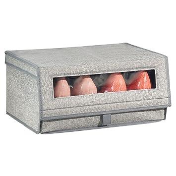 MetroDecor mDesign Caja para Zapatos de Tela (Grande) – Cajas apilables con Ventana,