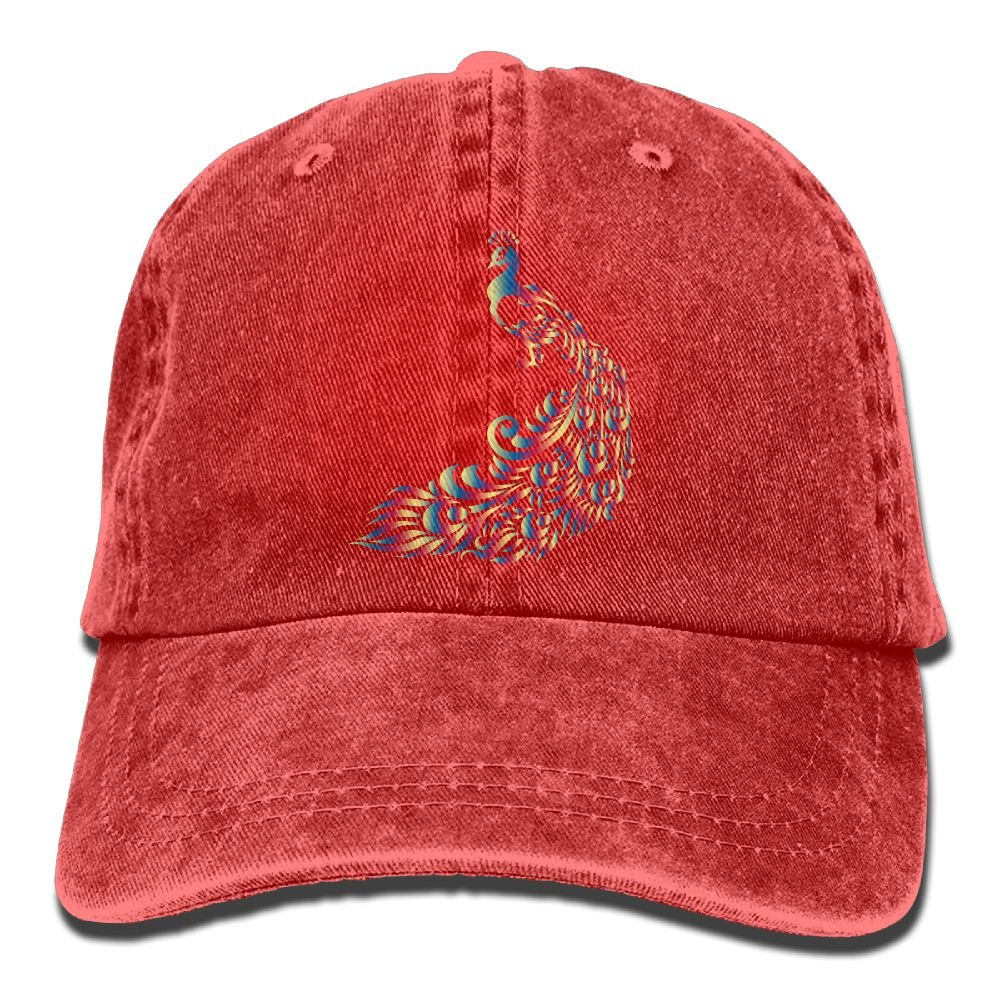 Fashion Rainbow Chromatic Animal Peacock Trend Printing Cowboy Hat Fashion Baseball Cap for Men and Women Black