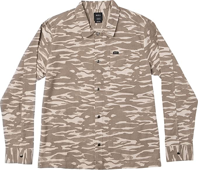 RVCA Mens Trenches Long Sleeve Woven Shirt