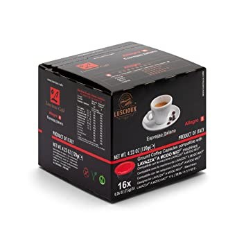 LUSCIOUX Allegro - Lavazza A Modo Mio Compatible Coffee Capsules | Pack of 12 [Total