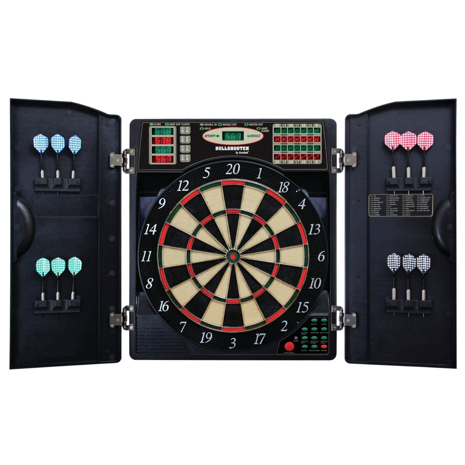 Best Selling Most Popular Home Playroom Bar Authentic Multi Player Pro Model Electronic Bulls-Eye Digital LED Dart Board- Full Lit Display- 38 Games 200+ Variations- 2 Set of Soft Tip/Steel Tip Darts