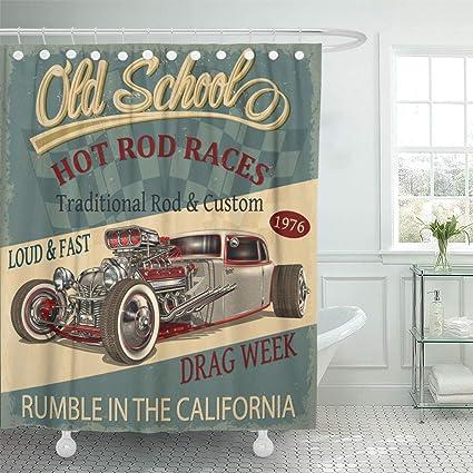 Image Unavailable Not Available For Color Emvency Shower Curtain Automotive Vintage Hot Rod Car