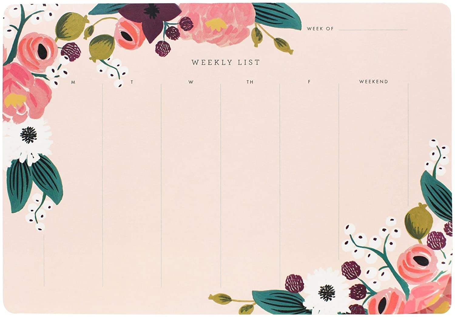 Rifle Papel Co. PINK Floral semanal vade para ratón: Amazon ...