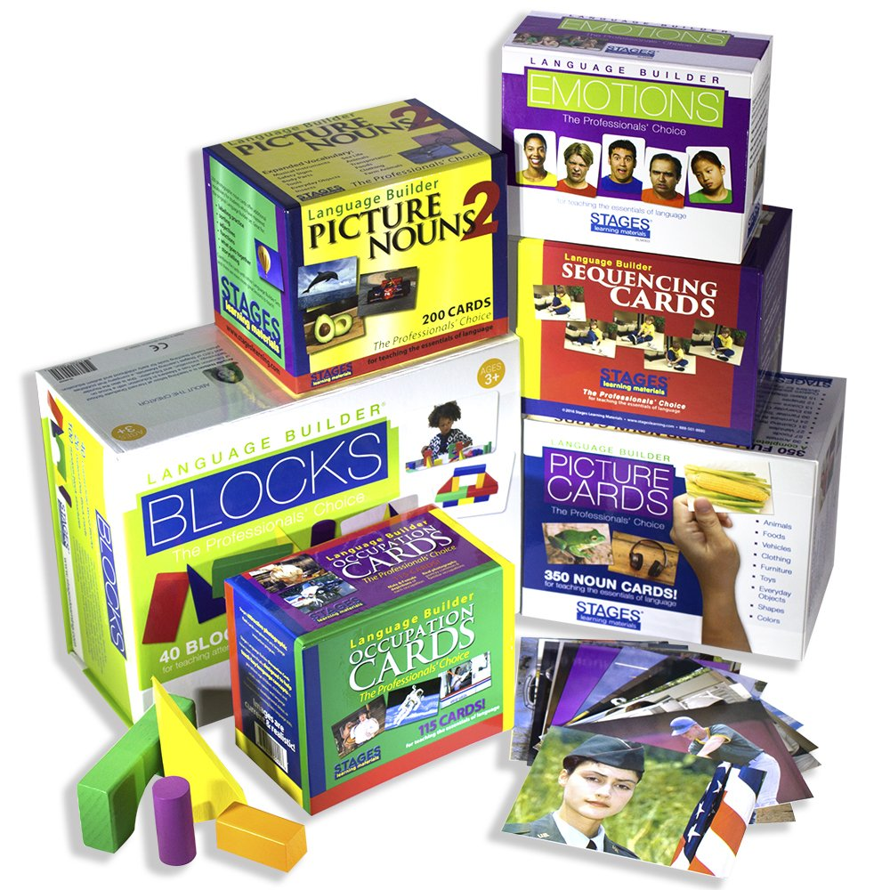 Stages Learning Materials Language Builder Picture Noun Flash Cards Photo Vocabulary Autism Learning Products, ABA Therapy 6 Boxes, 980 Cards, Blocks