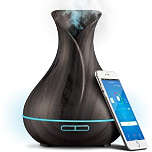 Smart Wifi Wireless Essential Oil Aromatherapy 400ml Ultrasonic Diffuser & Humidifier With Alexa & Google Home Phone App & Voice Control - Create Schedules - LED & Timer Settings