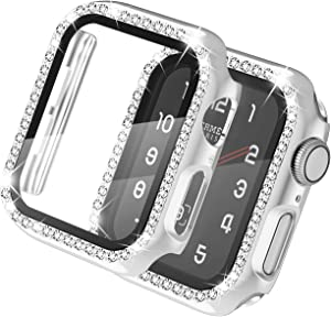 adepoy Apple Watch Case 38mm Series 3/2/1 with Screen Protector Full Cover Crystal Diamond Apple Watch Protective Case Shock-Proof Resist Bumper Case Cover for Women Girl New Gen iWatch (Silver)