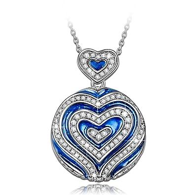 NINASUN «Amor en Titanic» 925 Plata Zirconia Cubica de la Colección Azul Colgante Collar Mujer
