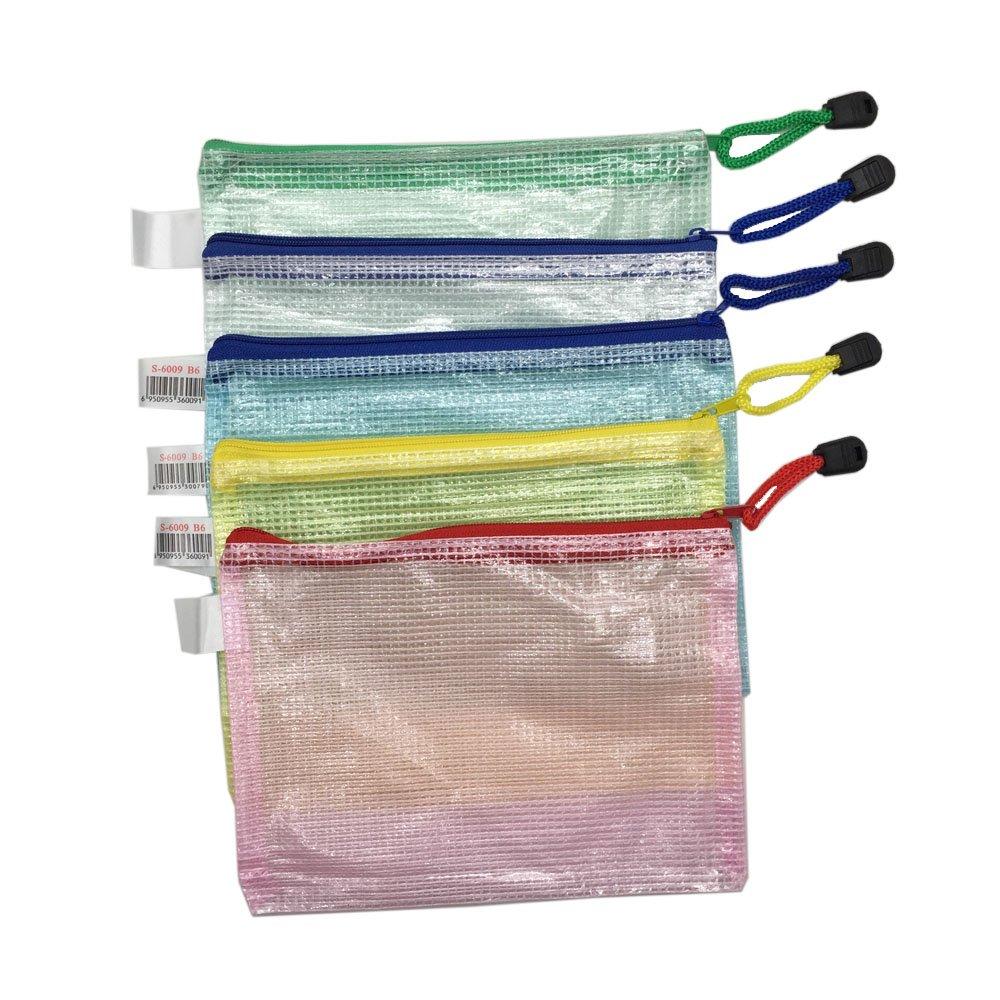 MMY-5 pcs Chemise B8-Paquet Portefeuille Pochette en PVC Zip Document Dossier-Multicolore-Bleu,Vert,Blanc,Rouge,Jaune-B8
