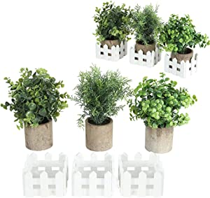 Mini Potted Artificial Farmhouse Plants for Home Decor , Small Fake Plants 3 Set with Fence Box - Indoor Bathroom Bedroom Office Desk Decor
