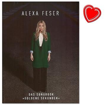 Alexa Feser: Goldene Sekunden - Songbook für Klavier, Gesang, Gitarre mit bunter herzförmiger Notenklammer