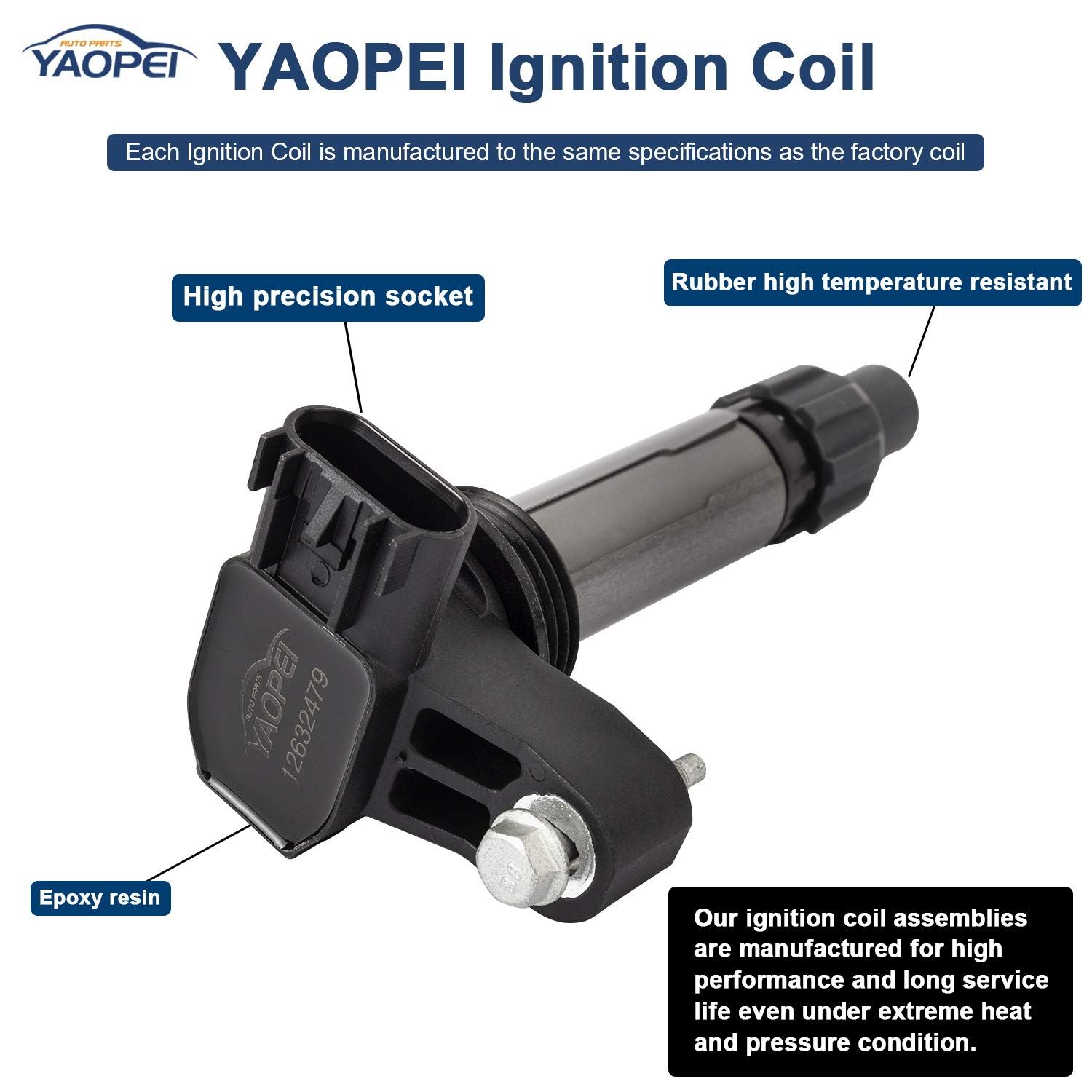 Pack of 6 Ignition Coil Replacement for Lexus IS F Scion xB Toyota 4Runner Toyota Tacoma UF495 90080-19015 5C1419 C1426-2.4L 2.7L 4.0L HONORY USA