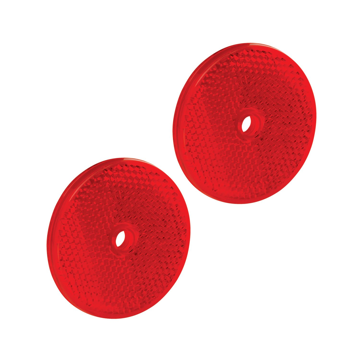 Red 3-1//4 Diameter x 3//8 Thick Tapco RT-90 Plastic Centermount Reflector with Plastic Center Hole