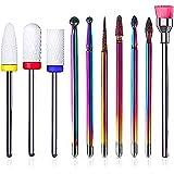 Glpaesnil Nail Drill Bits Kit 10PCS tungsten carbide ceramic acrylic nail file set 3/32 inch cemented carbide cuticle nail fi