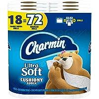 Charmin Ultra Soft Cushiony Touch Toilet Paper, 18 Family Mega Rolls = 90 Regular...