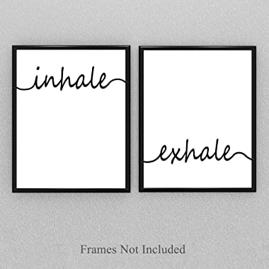 Inhale Exhale - Set of Two 11x14 Unframed Prints - Makes a Great Gift Under $25 for Bathroom/Bedroom Decor