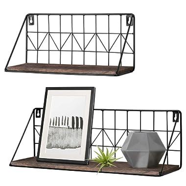 Mkono Wall Mounted Floating Shelves Set of 2 Rustic Metal Wire Storage Shelves Display Racks Home Decor