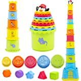 MOONTOY Stacking Cups, Baby Stacking Toys, Infant Stackable Block, 19PCS Colorful Nesting Cups Shape Sorter for Sand Bath, Ea